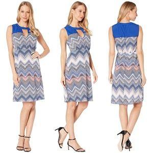 BCBGMAXAZRIA Woven Print Block Dress Mini Zig Zag